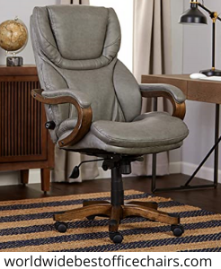 Serta Big and Tall Executive Office Chair with Wooden Accents